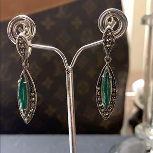 Jewelry - Malachite gemstone silver earrings
